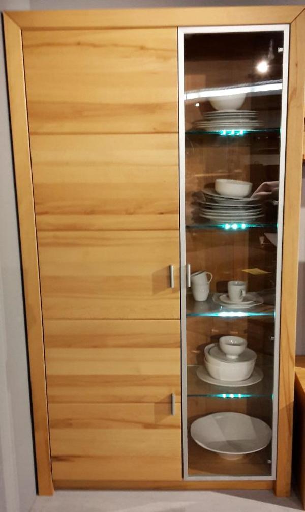 neu vitrine wohnzimmerschrank front kernbuche massiv in. Black Bedroom Furniture Sets. Home Design Ideas