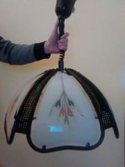 Rattan Deckenlampe, schwarz