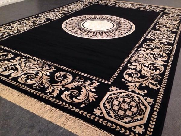 seiden teppich 230x160 versac schwarz medusa rug gold neu medusa barock in berlin teppiche. Black Bedroom Furniture Sets. Home Design Ideas