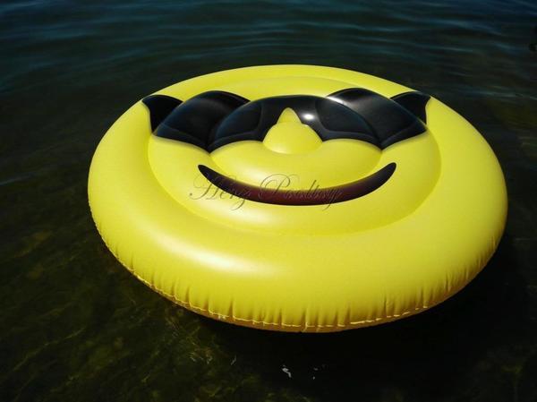Sonnige XXL aufblasbare Cool-Smiley Schwimminsel