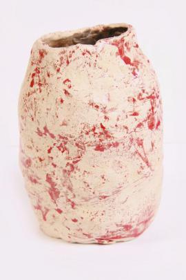 Tonvase-Blumenvase cremeweiß rot-Handarbeit: Kleinanzeigen aus Berching - Rubrik Dekoartikel