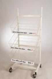 Verkaufs-Rollständer m 4 Körben-Wühlkorb-Ständer Ladeneinrichtung-Gitterregal