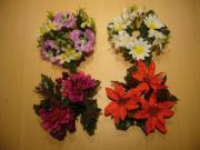 Vier Blumenkränze für Kerze für