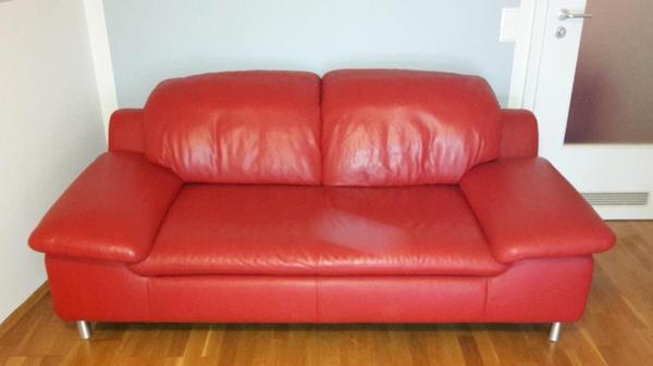rotes ledersofa m belideen. Black Bedroom Furniture Sets. Home Design Ideas