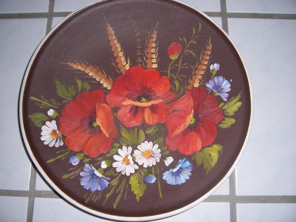 wandteller aus keramik wand teller mohn blumen ca 34 cm deko in landau kunst gem lde. Black Bedroom Furniture Sets. Home Design Ideas