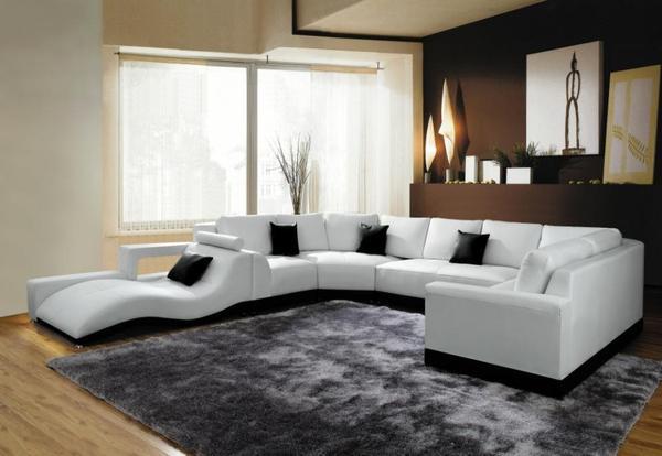 Wohnlandschaft 2264b leder couch schwarz wei braun b ro for Leder wohnlandschaft schwarz