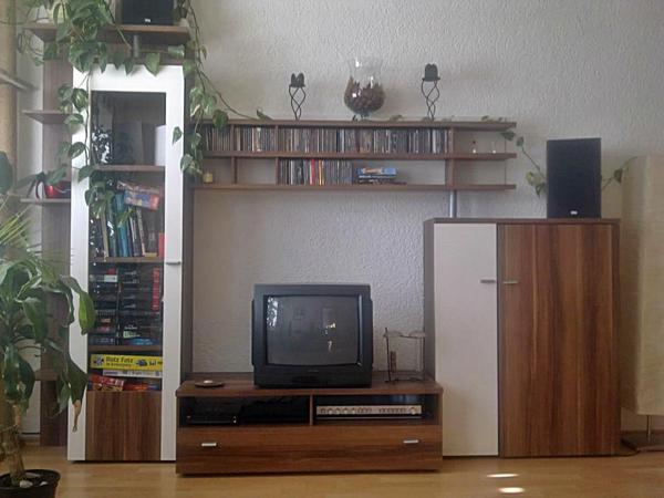 Schrankwand Verkaufen WOHNWAND 4 Tlg Farbe NUSSBAUM Weiss Ornament Glasteil TV Schrank